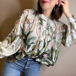 H&M Jaguar/Palm/Jungle print blouse NWT